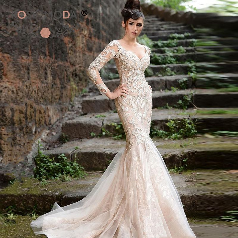 Mermaid Wedding Dresses With Sleeves: Deep V Neck Long Sleeves Champagne Lace Mermaid Wedding