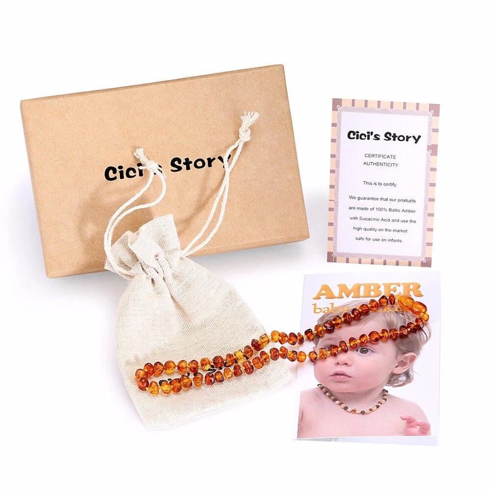 Baltische barnsteen tandjes ketting voor Baby (Cognac) - 3 maten - - Fijne sieraden - Foto 3