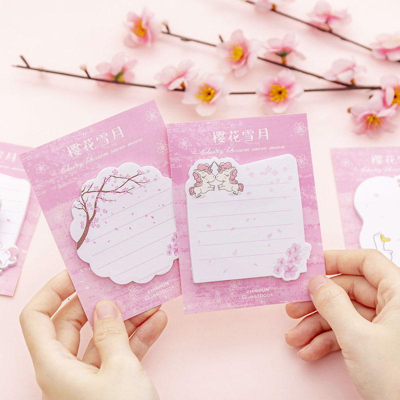 Girl Cherry Sakura Snow Moon Memo Pad Sticky Notes Sticker Label Escolar Papelaria School Office Supply