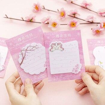 Menina cereja sakura neve lua memorando almofada notas pegajosas etiqueta rótulo escolar papelaria escola material de escritório