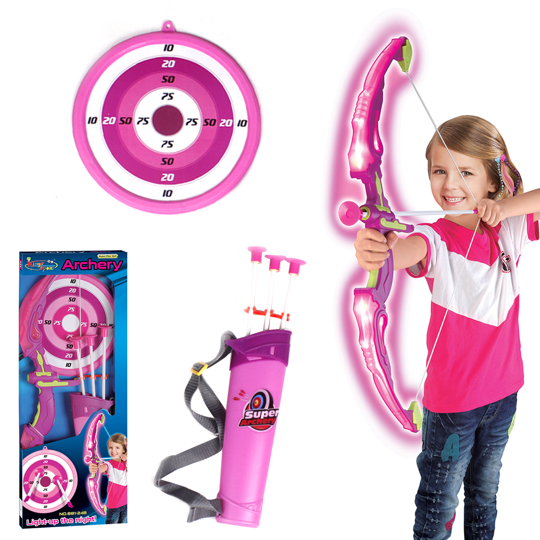 Mainan Anak Panahan Busur Dan Panah Target Kertas Papan Plastik Olahraga Menembak Set Dengan Lampu Led