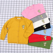 2019 Spring Autumn Cactus Embroidery Sweater Baby Children Boys Girls Cotton Cartoon Sweaters Kids Spring Wear Baby Boy Clothes children clothes high quality baby girls boys pullovers turtleneck sweaters autumn winter warm cartoon clothes wear kids sweater
