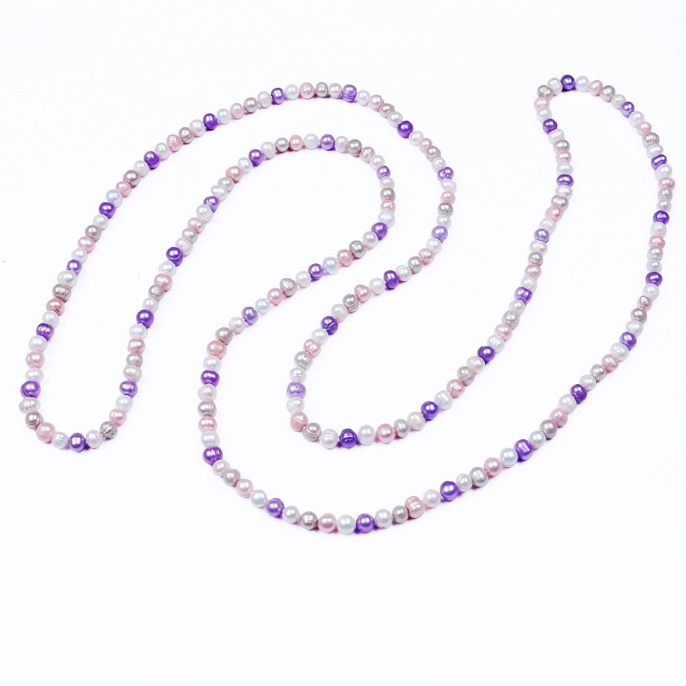 Multi Color Real Pearl Bead Necklace Jewellery Women Long Necklace Blade Rope Chain For Party