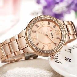 2018 Женская Мода часы Curren Роскошные золотые Нержавеющаясталь кварцевые часы женская одежда ювелирные изделия для Для женщин Подарки
