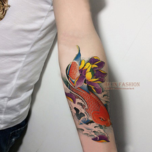 1sheet Waterproof Temporary Tattoo Sticker Color Fish Design Shoulder Arm Tattoo Transfer Fake Flash Tattoos For Men Women ZW014