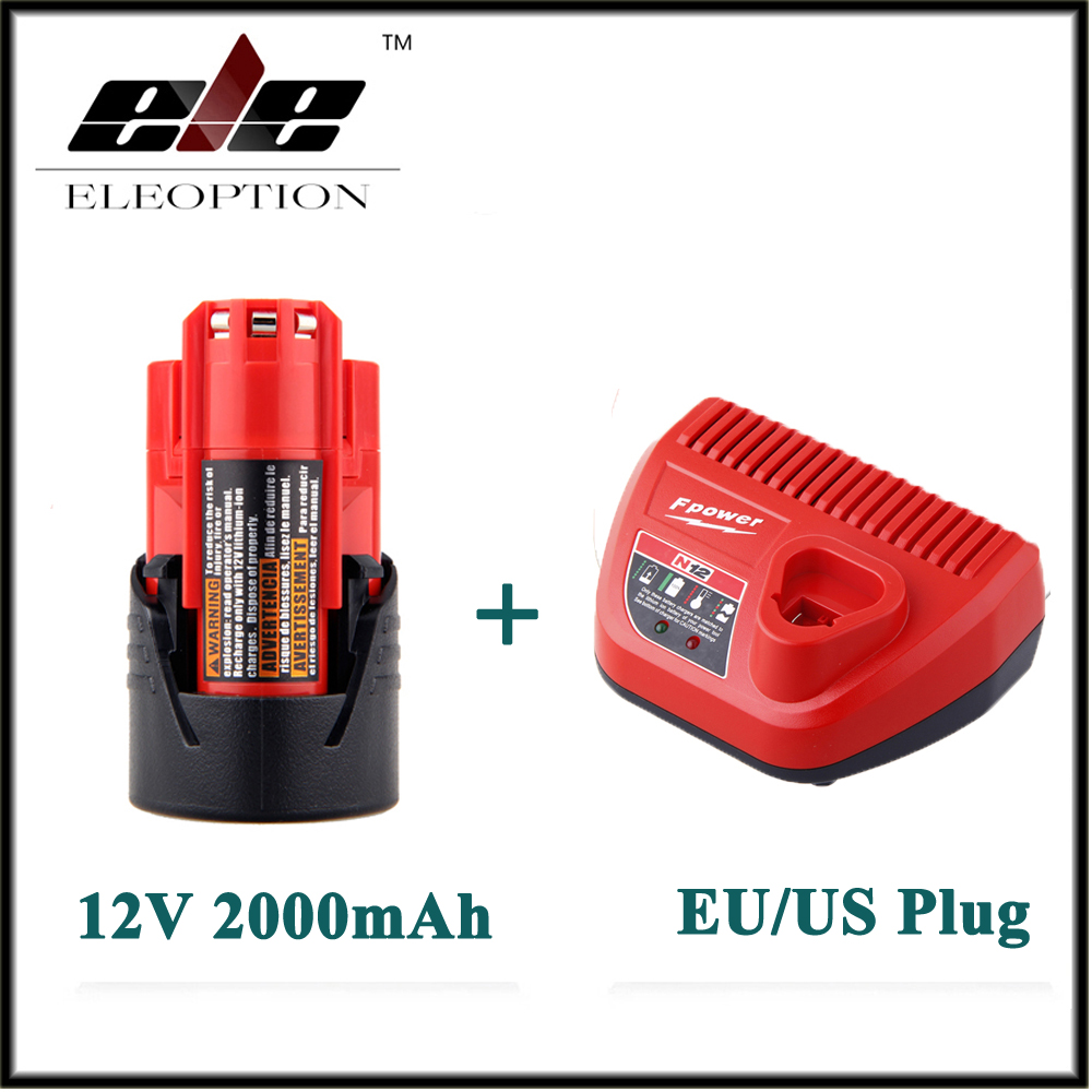 New Eleoption 12V 2000mAh Li-ion Rechargeable Power Tool Battery For Milwaukee M12 48-11-2401 2510-20 48-59-1812+ Charger