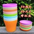 5 Размеры 8 Цветов Пластиковые Цветочный Горшок + Горшок Лоток Смолы Экологичный Цветок/Овощей Горшок
