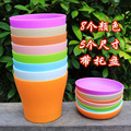 5 Sizes 8 Colors Plastic Flower Pot+ Pot Tray Resin Eco-friendly Flower/ Vegetable Pot