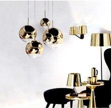 Modern Art Gold Hanging Lamp Design Glass Ball LED Pendant Lights Mirror Shade Bedroom Bar Living Room Light Fixtures