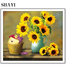 New Diamonds Painted Full Diamonds Sunflower Diamonds Home Decorating Sticky Diamonds Embroidered Cross Stitch LUOVIZEM L173 diamonds fitness