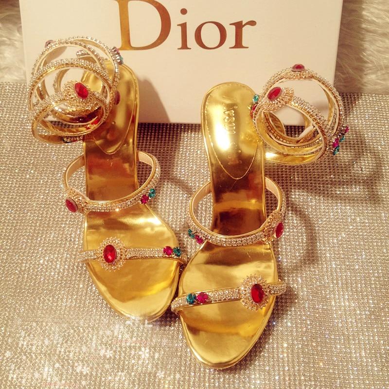 High Heel Gold Summer Sandal Boots Gladiator lWedding Shoes Rhinestone Sandals Shinny Women Rhinestone Strappy Free shipping