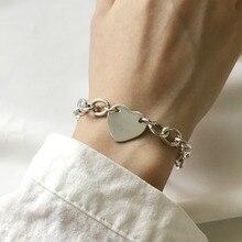 Korean Customized 925 sterling silver jewelry design heavy industry love Bileklik bransoletki damskie bracelet femme aretes