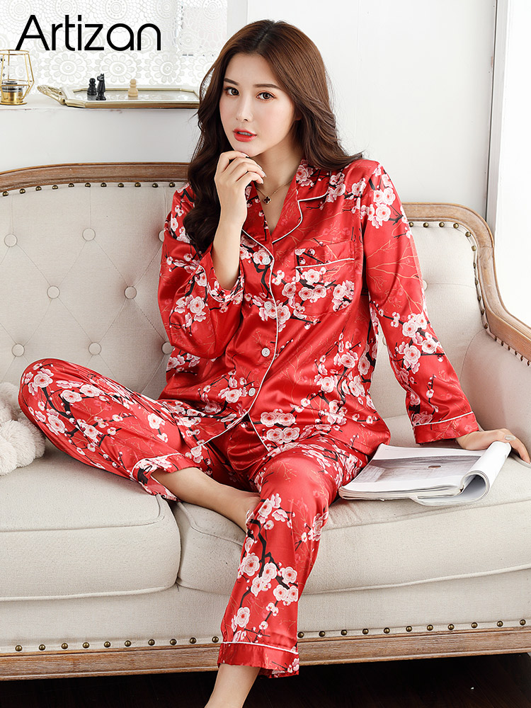 HTB1SBzLb4iH3KVjSZPfq6xBiVXat - Satin Silk Pajamas for Women's Set pyjamas Button Pigiama Donna pjs Winter Mujer Pijama Sleepwear Nightwear Pizama Damska 2Pcs