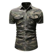 Camouflage Denim Shirt for Men Short sleeve Casual Social Dress Jeans Male Summer Blouse