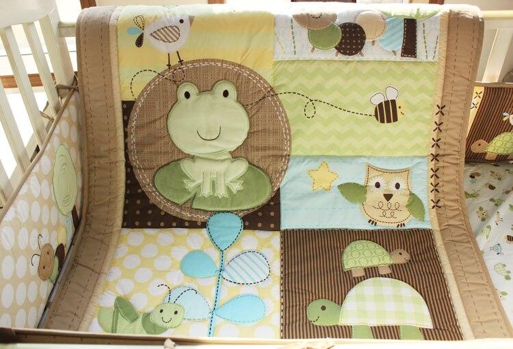 9 шт. вышитые лягушка черепаха сова детские постельных принадлежностей включите одеяло бампер юбка одеяла пеленки мешок