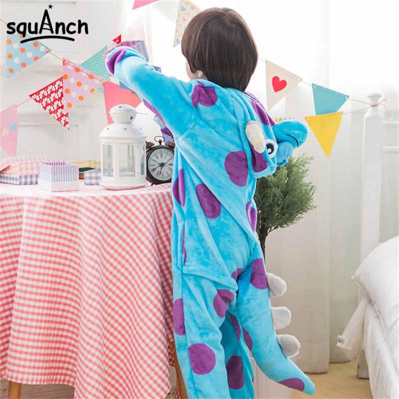 Sullivan canavar Onesies karikatür hayvan Sully Kigurumis kadın erkek kız erkek pijama komik parti takım elbise kış ev yumuşak genel