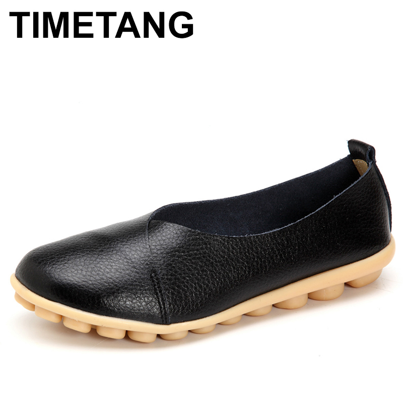 TIMETANG 2018 Handmade Leather Women plus size Sewing Flats Moccasins Loafers ballet flats women Comfortable soft Casual C277