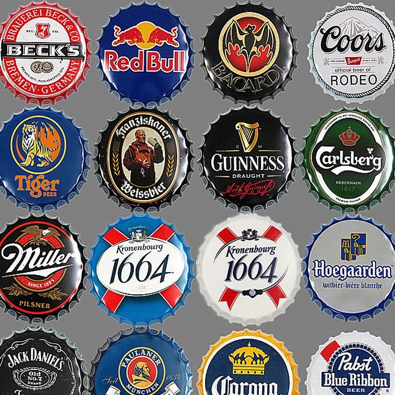 Criativo retro garrafa de cerveja tampa decorativa metal 35cm estanho sinal bar pub decoração da parede casa retro metal arte cartazes venda quente