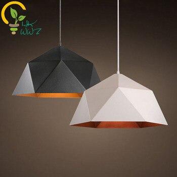 Nordic Wrought Iron Retro E27 Pendant Lights,Black and White Lampshade Retro Restaurant Living Room Pendant Lamp