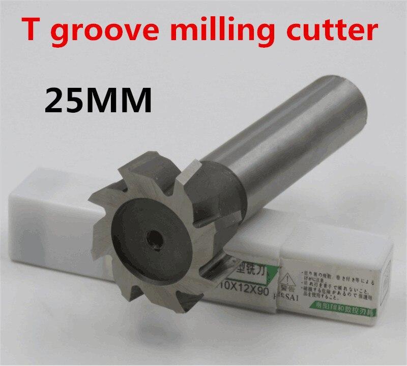 1PCS 25*3*4*5*6*8*10*12 High Speed Steel Straight Shank T Groove Milling Cutter T Type Straight Shank Milling Cutter