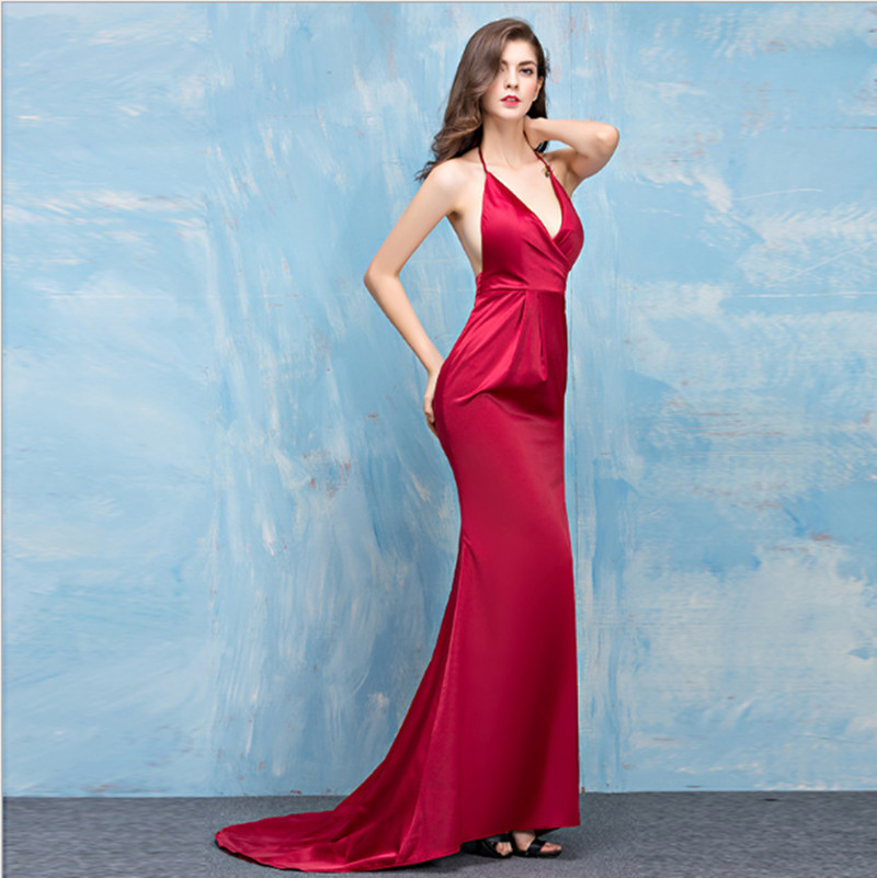 7f4cde8cc33 Aliexpress.com   Buy Sexy Satin Evening Dress Backless Spaghtti Strap High  Slit Floor Length with Train Deep V neck Prom Party Formal Occasion Dress  from ...