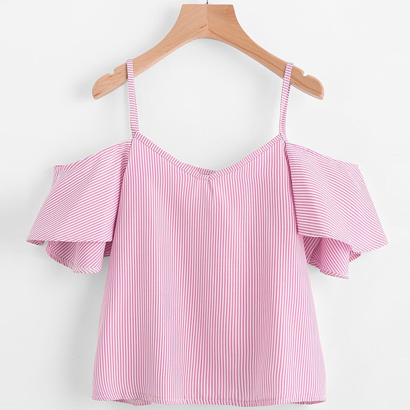 2018 women shirt Crop top summer sexy fashion vest bow Women's Self Tie Back V Neck Striped Crop cami Top Camisole Blouse