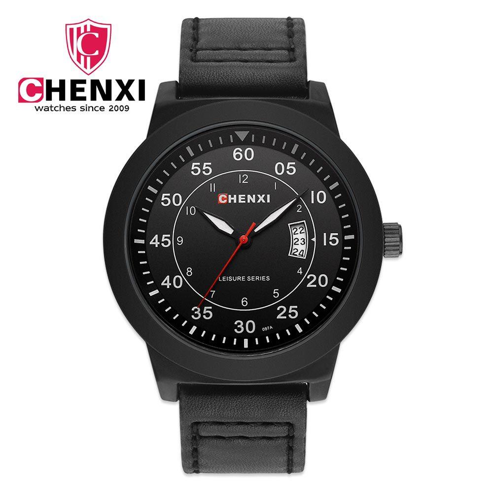 2017 Luxury CHENXI Brand Male Watches Unique Fashion Sport Casual Night Light Pointer Men's Watch Genuine Leather Waterproof 097