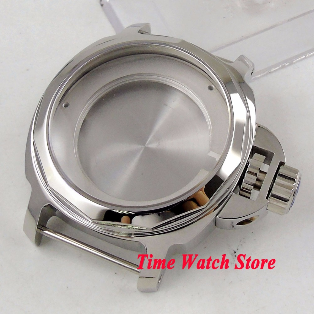44mm polished watch case big crown 316L stailess steel sapphire glass fit ETA 2836 MIYOTA 8215 Automatic movement C10244mm polished watch case big crown 316L stailess steel sapphire glass fit ETA 2836 MIYOTA 8215 Automatic movement C102