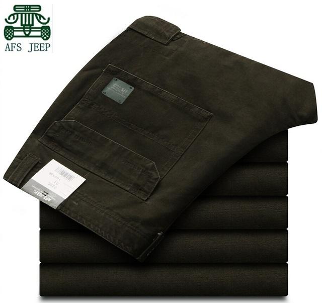 AFS JEEP hombres de la Marca Casual Pantalones Cargo, sólido Ropa de algodón, 100% Algodón Ocasional Sólido de Montaña/Moto pantalones, 2015 Pantalón