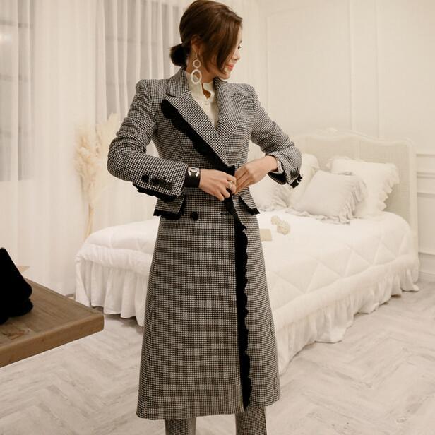 Costumes Df506 Manteau Breasted Élégant Automne Long Épais Et Crayon Blazer Femme Plaid Pantalon Double 2019 Hiver Pour aPqaY