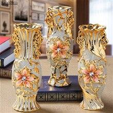 NOOLIM, европейская позолоченная фарфоровая ваза, винтажная Современная керамическая ваза для цветов, для комнаты, кабинета, прихожей, дома, свадебного декора
