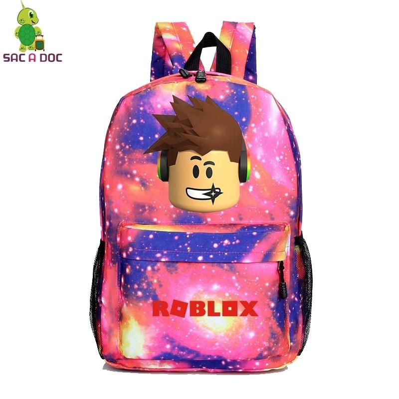 Galaxy School Bag Teenage Boy Girl  Roblox Backpack Collection Canvas Rucksack