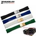 20mm preto | extremidade curva verde dos homens pulseira de borracha de silicone pulseira de prata com a implantação fivela de ouro relógios de pulso do esporte banda
