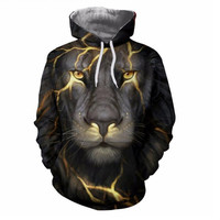 A new 3D printing fashion style 3D animal Hoodie male / female lion coat Hoody movement man