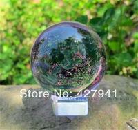 Asian Rare Natural Quartz Purple Magic Crystal Healing Ball Sphere 40mm Stand