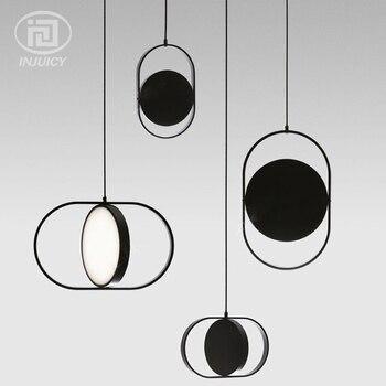 포스트 모던 간단한 레스토랑 led 펜던트 조명 북유럽 철 원 개별 디자이너 경량 럭셔리 바 장식 램프