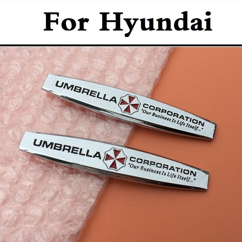2 STÜCKE 3D Metall Aufkleber Umbrella Corporation Auto Styling Decor Für Hyundai...