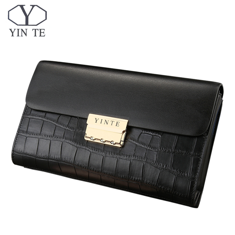 YINTE Men Wallet 2017 New Business Wallet Men Purse Clutch Bag Cow Leather Wallet Famous Long Design Lock Bag Portfolio <font><b>T8013</b></font>-4 image