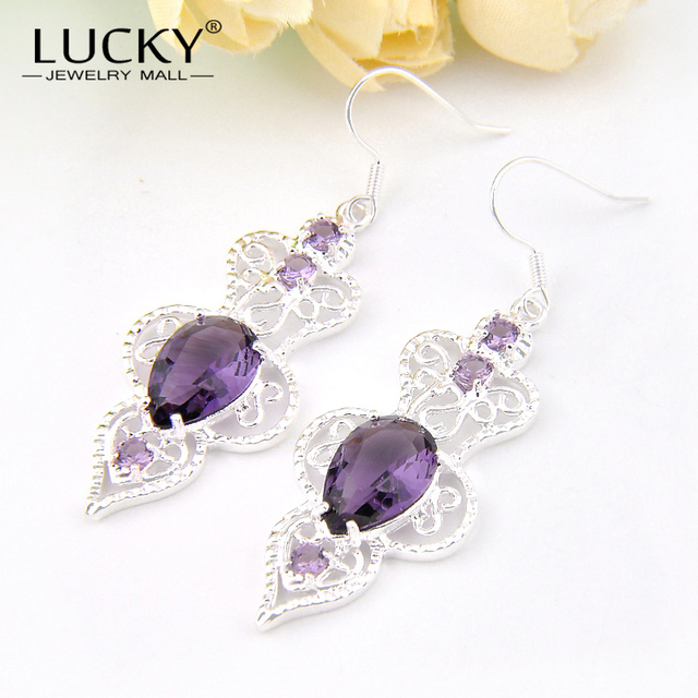 Lucky Mall Women Wedding Party Jewelry Purple Synthetic Crystal Silver Plated Earrings Charm