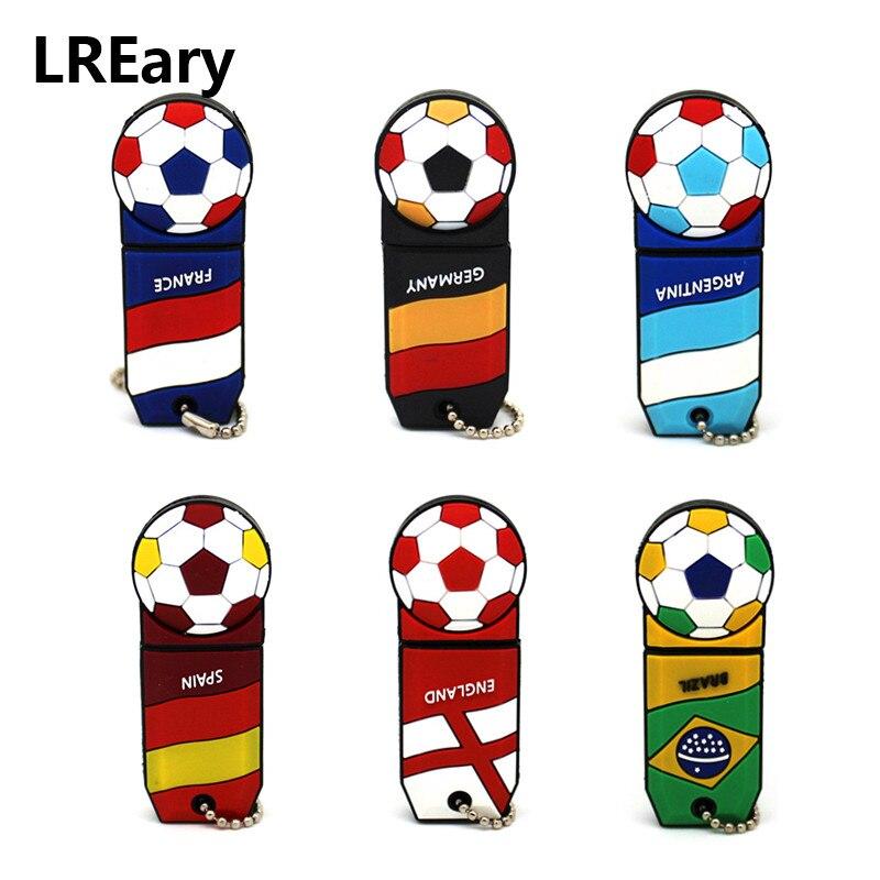 Cartoon Football 32GB 16GB 8GB Soccer Team Badge Usb Flash Drive Pen Drive Drive 4GB Usb 2.0 Memory Stick