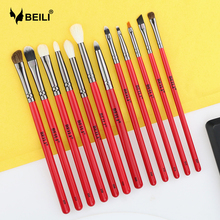 BEILI 12pcs Eye MakeupBrush Set Red Handle Goat Hair Synthetic Pony Hair Eye Shadow Shader Eyebrow Eyeliner Contour Crease