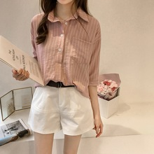 Women Striped Shirt Half Sleeve Blouse Loose Shirts Casual Pockets Female Pullover Tops Blusas