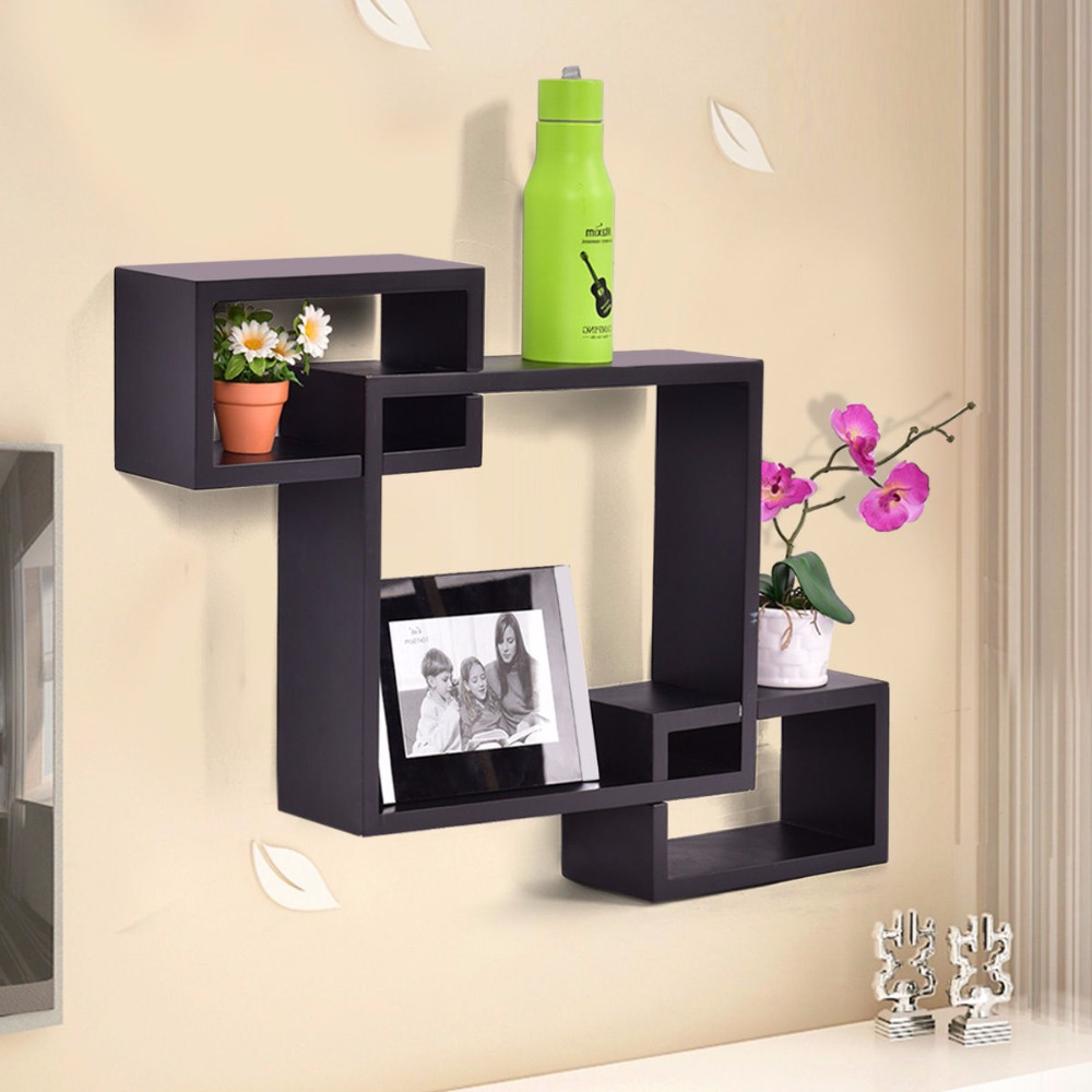 Goplus Black Intersecting 3 Rect Boxe Floating Shelf Wall Mounted Home Decor Wood Modern Bookshelf Storage Display Rack HW53011