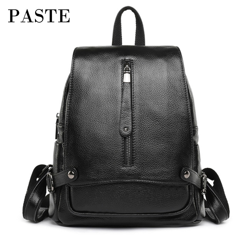 New Simple Genuine Leather Women Bagpack Flip All-match Korean Style Female Travel bag Backpack Schoolbag for Girls Teenagers new korean style genuine leather female