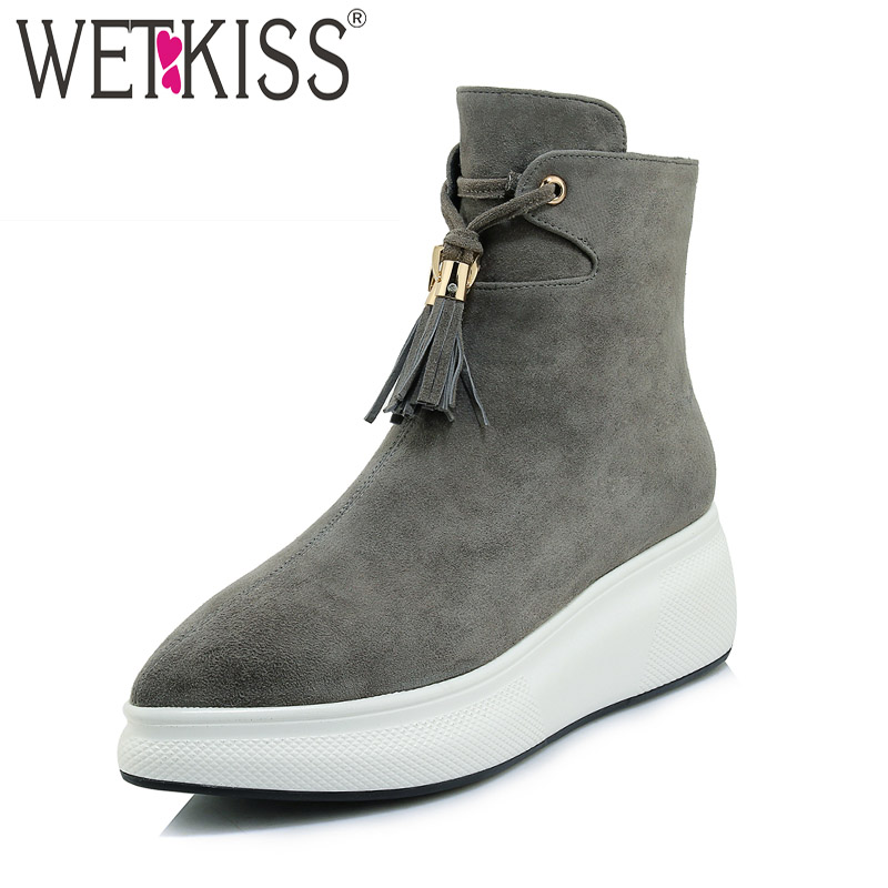 WETKISS Kid Suede Women Ankle Boots Pointed Toe Lace Up Tassel Footwear Fashion Casual Flat With Lady Boot Platform Shoes Woman