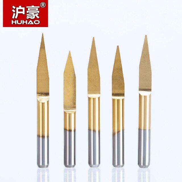 HUHAO 10pcs/lot 3.175mm Engraving Bits CNC degree 10-90 end mill carbide milling cutter Titanium Coating CNC Router Tools