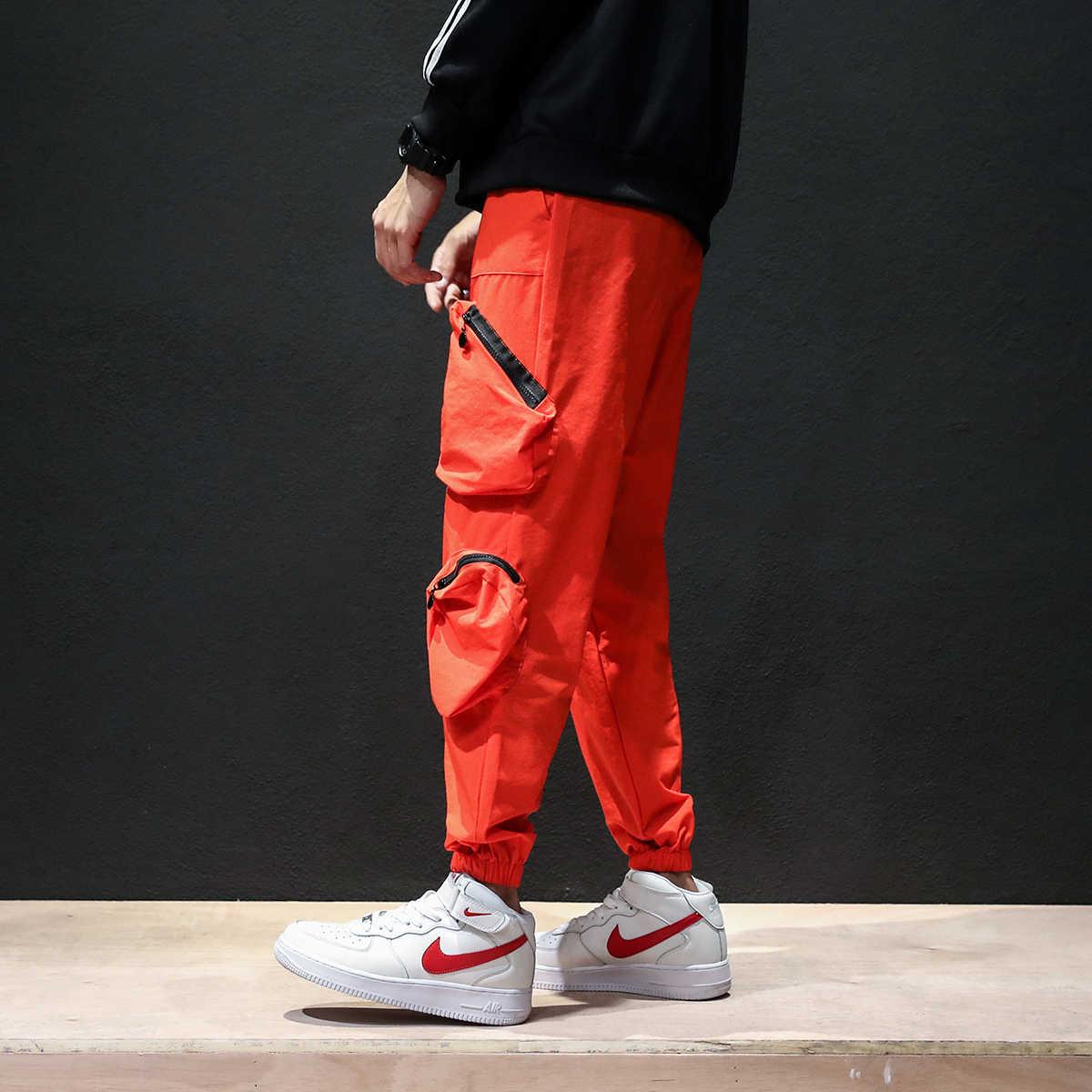 Hip Hop Turuncu Kargo Pantolon Erkekler Moda Sweatpants Cepler Casual Joggers Unisex Harajuku Streetwear Spor Artı Boyutu 5XL