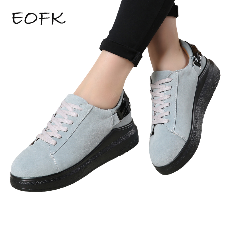 EOFK New Autumn Women Flat Shoes Woman Causal Sneakers Shoes Breathable Suede Leather Lace Up Flats Solid Womens Shoes