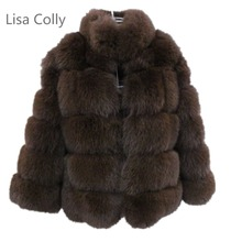 Lisa Colly New Long Fake Fox Fur Jacket Coat Women Winter Faux Fox Fur Jackets Overcoat Woman Warm Fox Fur Coats Outerwear lisa colly women winter coat jacket new faux fur long coat jacket fur coat overcoat thick warm outerwear fox fur coat jacket