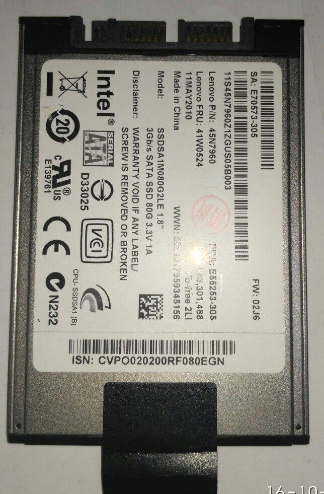 old 80GB SSD 1 8 MicroSATA FOR HP 2740p 2730p 2530p 2540p IBM x300 x301 T400S